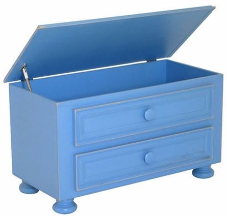 awesome bright blue toy box. any kid would want to put there toy back in this!