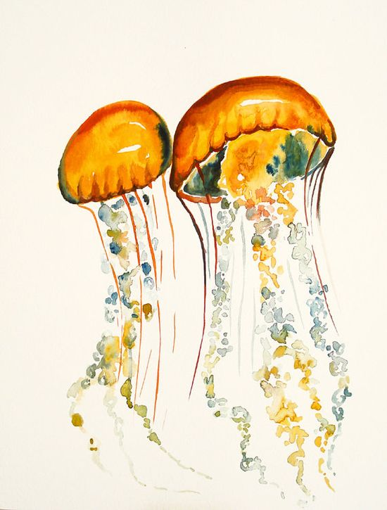 JELLYFISHES by DIMDI Original watercolor painting 11x14inch