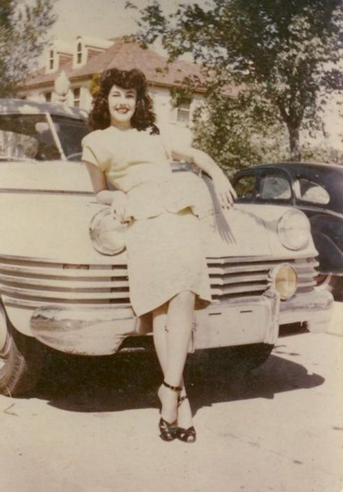 1940's cars and girls - meant to be together. And maybe we should add big hair.