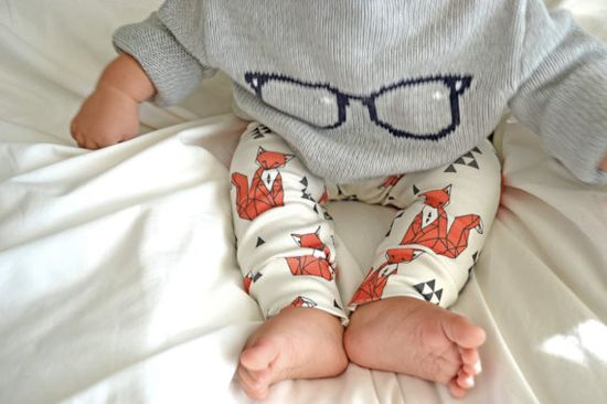 organic cotton leggings in geometric sitting fox, baby leggings, gender neutral, modern clothing on Etsy, $34.00