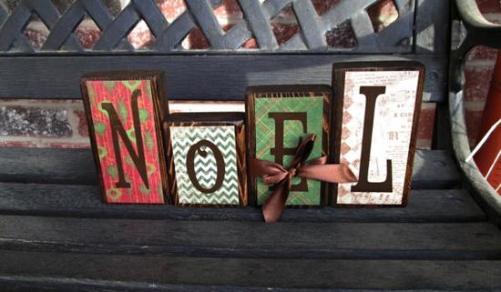 Christmas wood blocks
