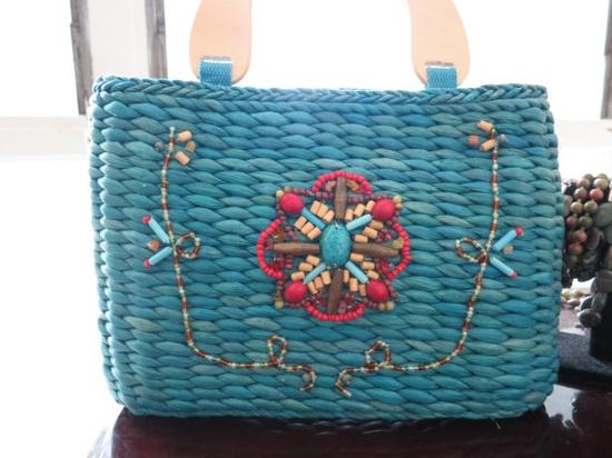 vintage blue straw handbag - great for summer