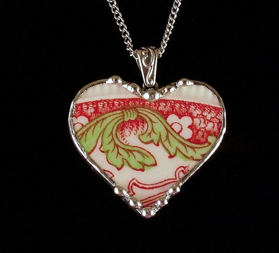 Broken china necklace pendant ...made by Laura Beth Love, Dishfunctional Designs