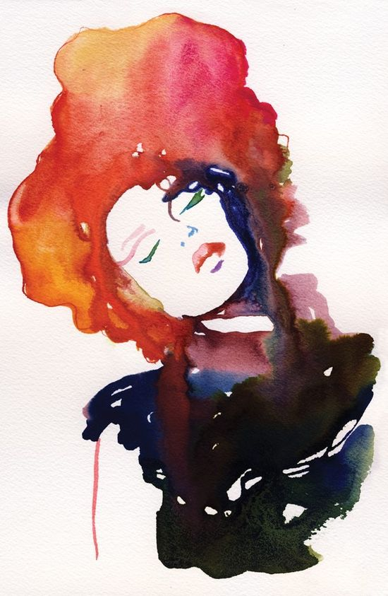 Watercolour Fashion Illustration Print  by silverridgestudio