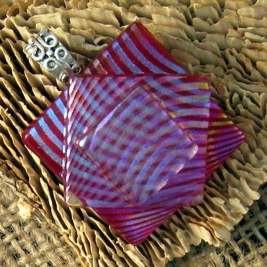 Rainbow Fused Glass Pendant Dichroic Pendant by GlassMystique, $25.00
