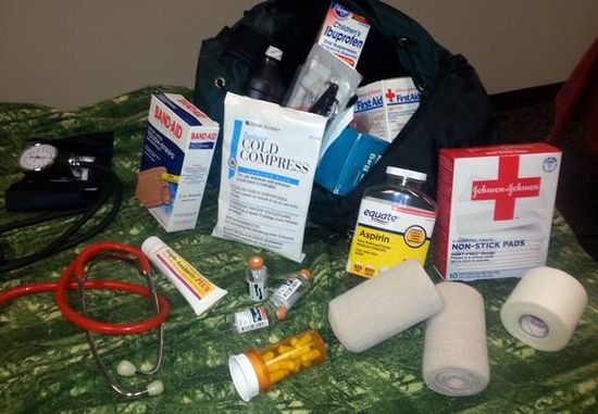 display set up for Backpacks Full of Health Care, Project #17 in our catalog