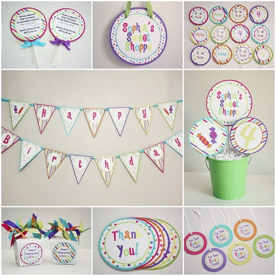 Sweet Shoppe Candy Birthday Party Package by 5M Creations $30