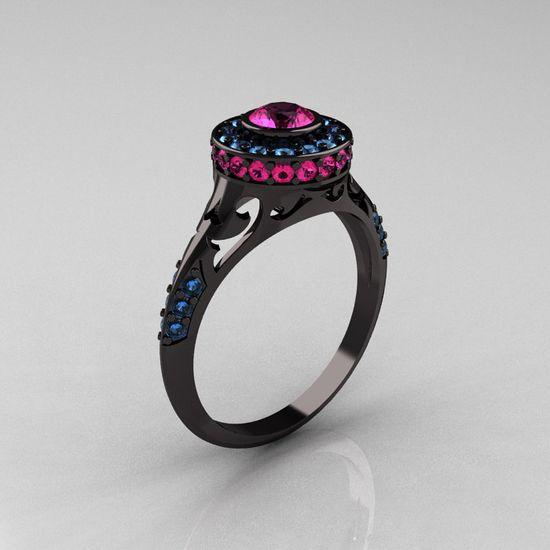 Modern Antique 14K Black Gold Pink Sapphire Aquamarine Wedding Ring,