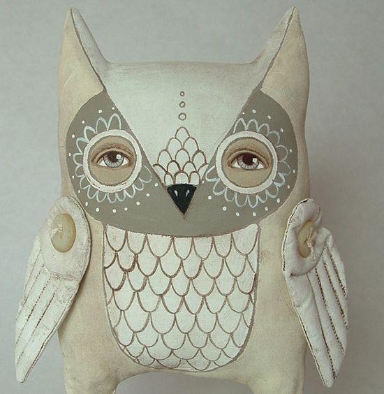 Omri-- Contemporary Folk Art Owl Doll