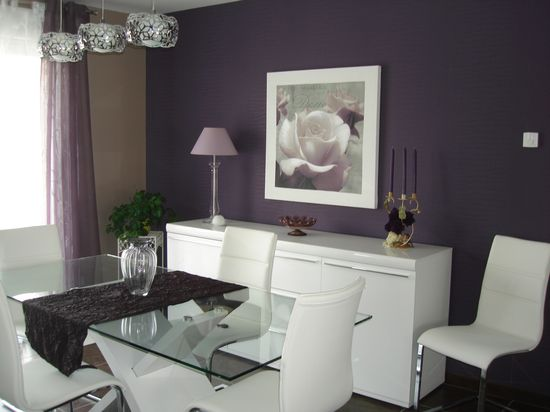 beige and purple dining