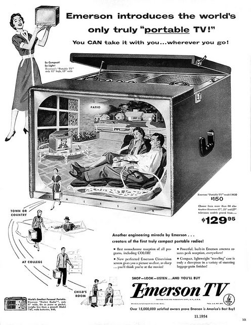 Introducing the world's only truly portable TV! #vintage #ad #mid_century #home
