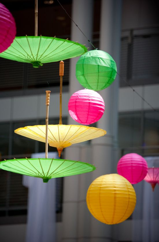 I love the idea of paper globes and parasols hanging around for a party.