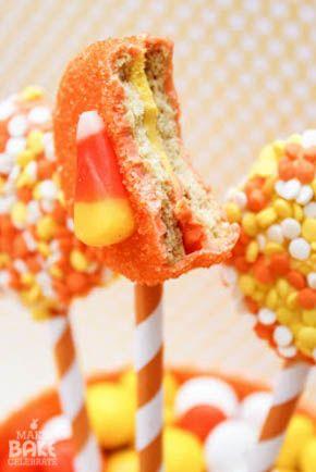 {Candy Corn Week!} Candy Corn Oreo Pops