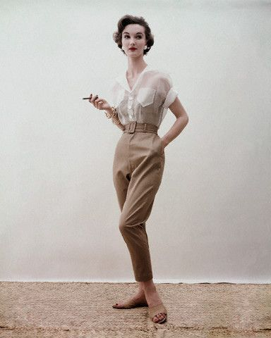 Sheer + beige = a winning, alluring casual look that never goes out of style. #1950s #pants #blouse #vintage #fashion #clothes #1950s