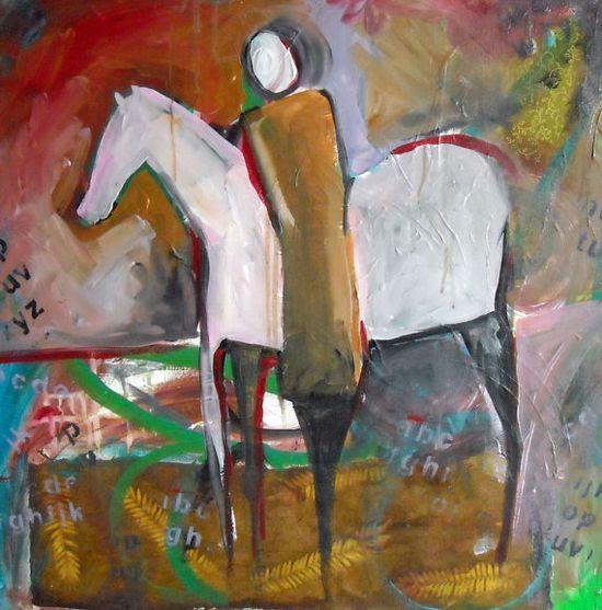 Night ride original painting art mixed media by Loriemccown,
