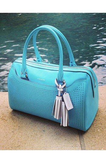 Love the blue! COACH Legacy - Haley Perforated Leather Satchel Handbag