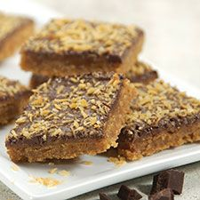 Coconut Caramel Candy Bars ... Chewy, chocolate-y, caramel-y — this treat is half cookie, half candy (bar)!