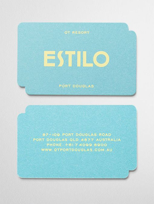 color combo on these business cards with di-cut corners