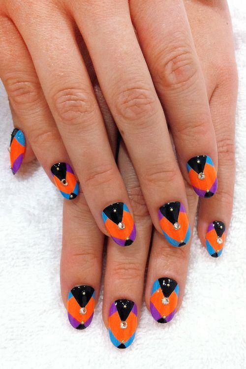 #nail #unhas #unha #nails #unhasdecoradas #nailart #colorful #colorido #preto #black #orange #laranja #azul #blue #purple #roxo
