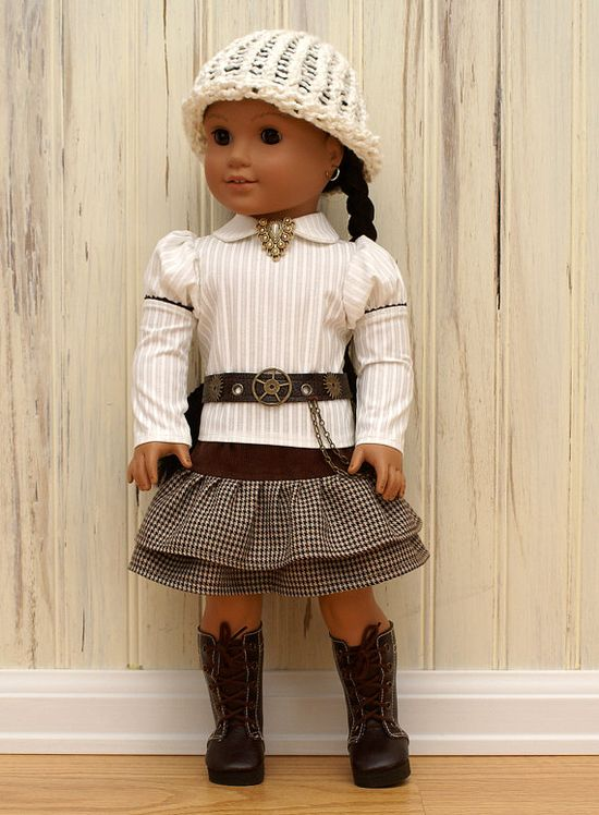 American Girl Doll outfit made by the Dolly Stand using a Liberty Jane Skirt Pattern - So cute!