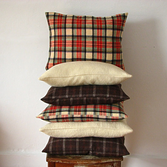 Red Tartan Vintage Wool Pillow- love for a cabin or guys' space