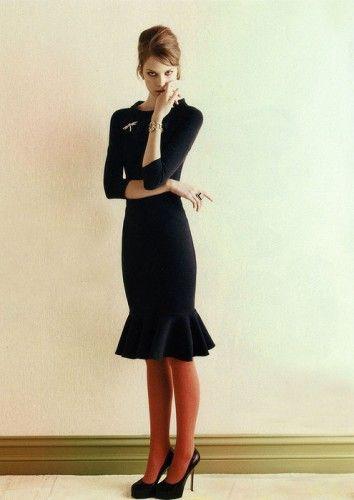 simple black dress and burnt orange tights! Ftw