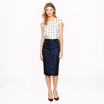 No. 2 pencil skirt in dot brocade