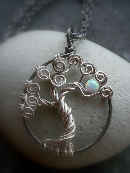 Tree of Life Jewelry Sterling silver and Opal #Tree of life Jewelry # opal #necklace #pendant
