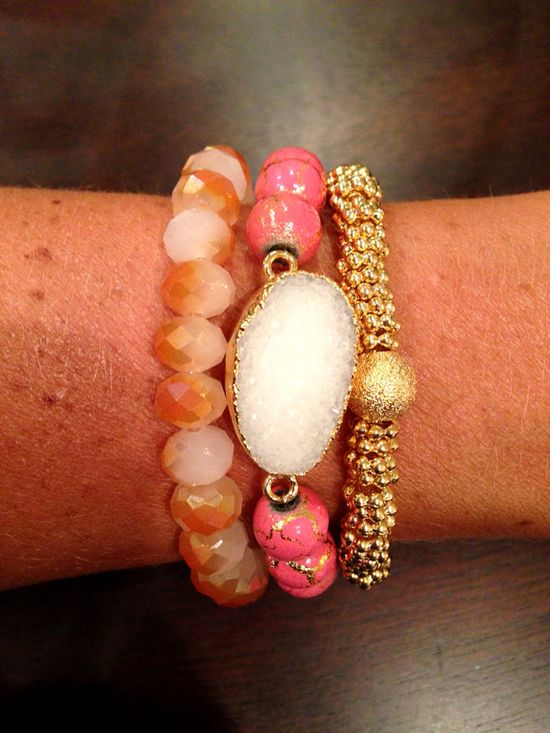 Druzy Pink & Gold Arm Party by EBCollection on Etsy, $57.99