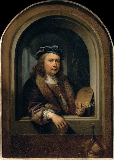 DOU, Gerrit Self-Portrait with a Palette, in a Niche 1660-65 Oil on wood, 31 x 21 cm Musée du Louvre, Paris
