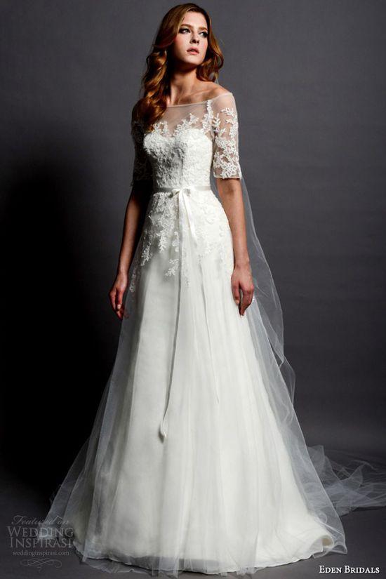 eden bridals 2013 2014 black label bl065 illusion sleeve wedding dress