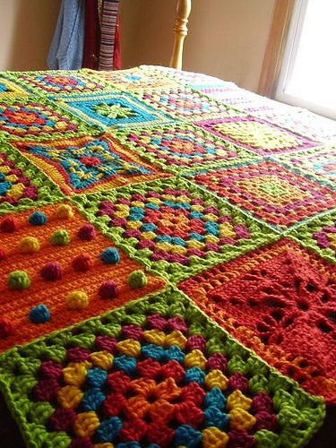 Crochet Cuties: Summer Squares on the Side Blanket