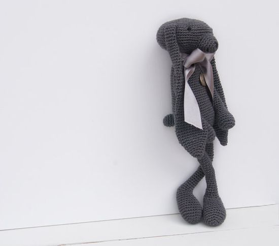 Amigurumi Gray Bunny with 'amour'