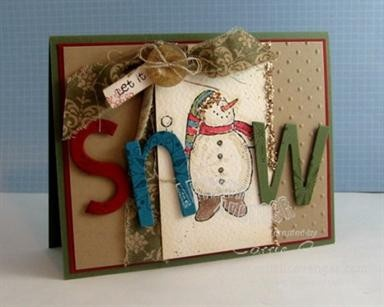 Rustic snowman Christmas card with embellishments  Love using the snowman for the o!