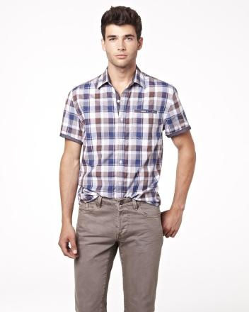 Short sleeve shirt in two-tone check Summer 2013 Collection