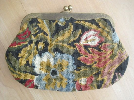 Vintage Needlepoint Tapestry Clutch