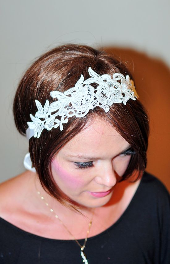 Lace Headband Ivory Headwrap Bridal Hair Band Vintage Head wrap Hair Scarf  Romantic Girly Flowers Laces  Gift