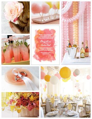 Pink and yellow wedding design board