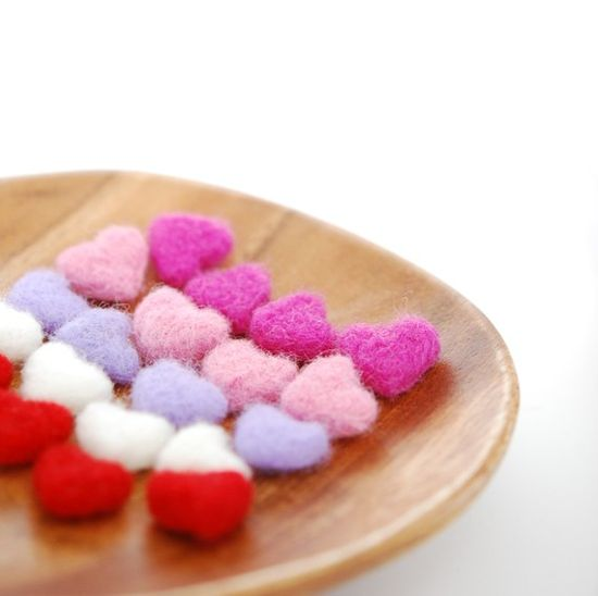 Felted Hearts by feltjar on Etsy #valentine, #dreamteam, $15.00