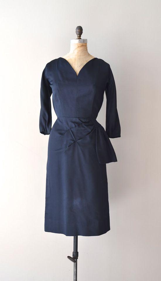1950s dress / vintage 50s dress / Ostinato faille dress