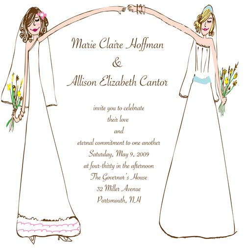 a cool invite for two brides. love the hand drawn look.