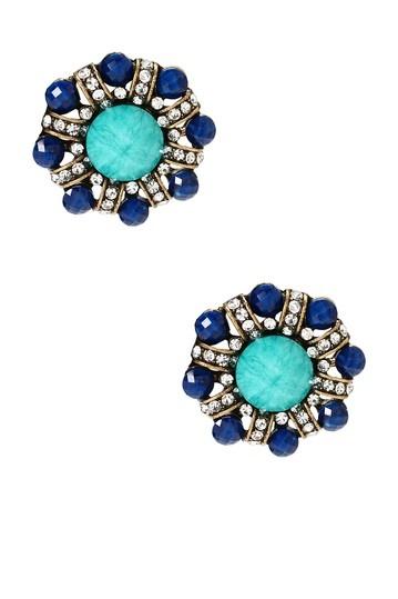 Blue Colorblock Stud Earrings