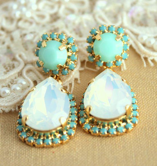 Mint turquoise white opal crystal chandelier earrings