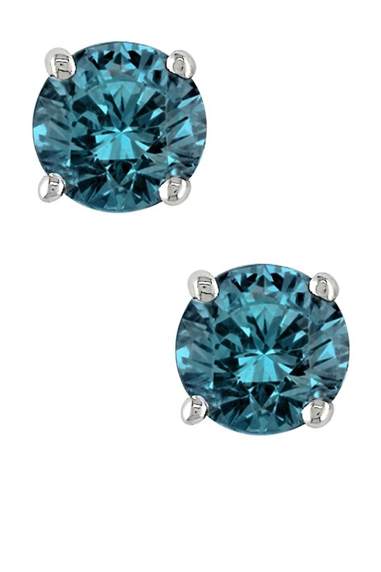 14K White Gold Martini Blue Diamond Solitaire Earrings - 1.00 ctw