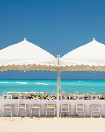 beach wedding. scalloped tents.