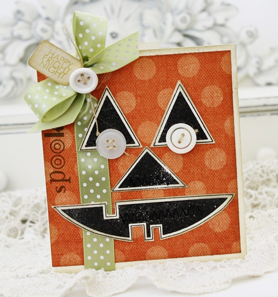 Happy Fright Night...Handmade Card Cute except the button eye's I would do without. :)
