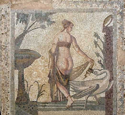 Leda and the Swan, circa 1st Century AD. Roman mosaic from Sanctuary of Aphrodite on Palea Paphos, Cyprus, now in the Cyprus Museum, Nocosia.