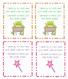 Free notes for a desk fairy to reward kids with clean desks!