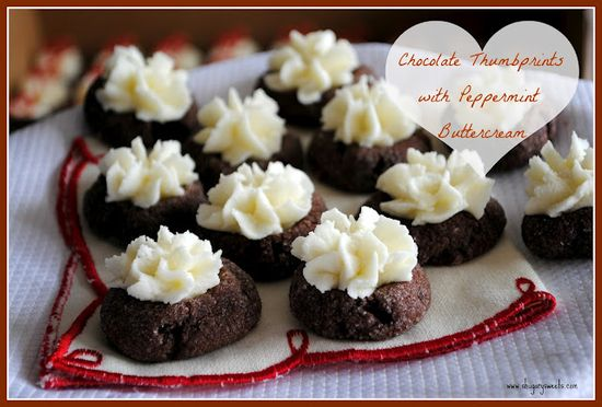 recipe for chocolate thumbprint cookies with peppermint frosting