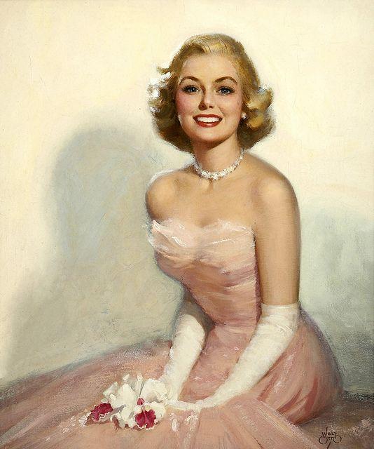 #vintage #1950s #pink #dress #woman #art